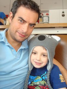 Adam Gigante and son Luca for the skype dads Collect for Femail
